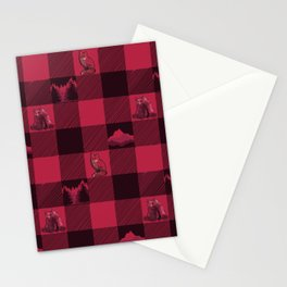 Fox and Bear Plaid #2 RED Stationery Cards