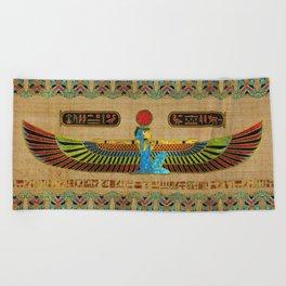 Egyptian Goddess Isis Ornament on papyrus Beach Towel