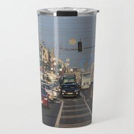 Cars traffic on Nevsky Prospect Travel Mug