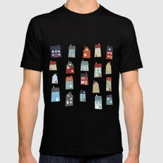 Little Houses Mens Fitted Tee MEDIUM Black