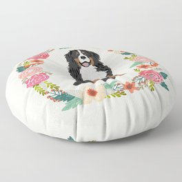 bernese mountain dog floral wreath dog gifts pet portraits Floor Pillow