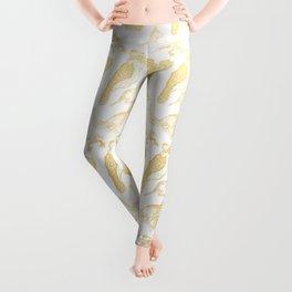 Beautiful Golden Australian Native Floral Print Leggings