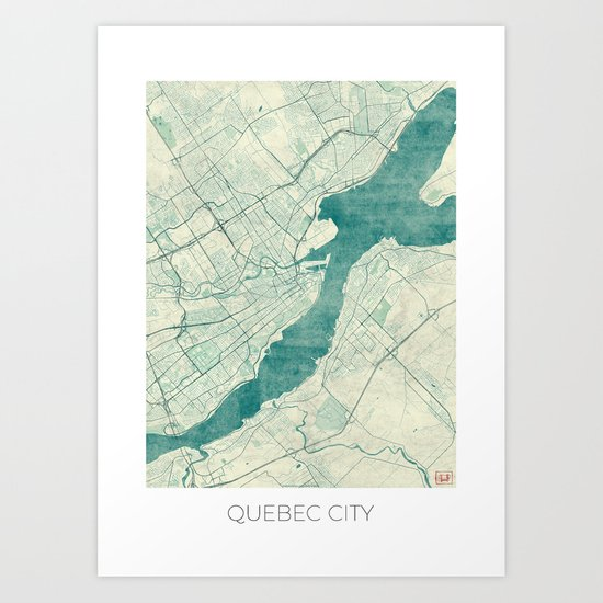 Quebec City Map Blue Vintage Art Print
