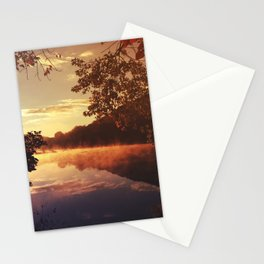 Early morningsun- Forest Sun Lake Trees Stationery Cards
