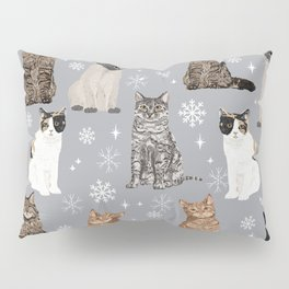 Cat breeds snowflakes winter cuddles with kittens cat lover essential cat gifts Pillow Sham
