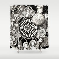 stained glass Shower Curtains featuring Stained glass by Anca Chelaru