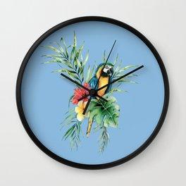 Tropical Blue Parrot Wall Clock