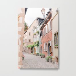 Colorful street in an old French town | Travel photography in France Europe | Pastel photo print Metal Print