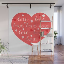 Valentines Day Heart #1 - Love Hearts Red PinK Wall Mural