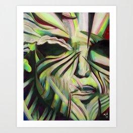 Green Face Art Print