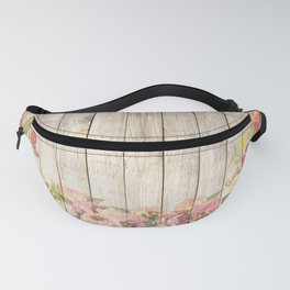 Vintage Rustic Romantic Roses Wooden Plank Fanny Pack