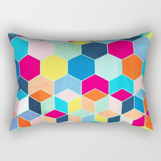 Super Bright Color Fun Hexagon Pattern Rectangular Pillow