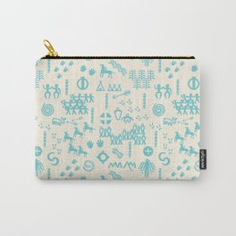 PeopleStory - Turquoise and Creme Carry-All Pouch