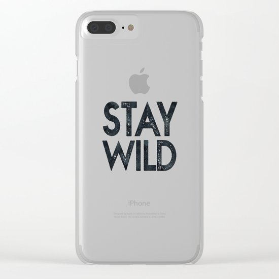 STAY WILD Vintage Black and White Clear iPhone Case