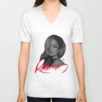 rihanna V-neck T-shirts featuring Rihanna by Negrila Mircea Illustrations