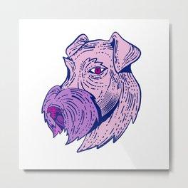 Bingley Terrier Head Etching Color Metal Print