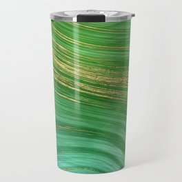 Green Mermaid Glamour Marble With Gold Veins Travel Mug