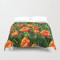 switzerland Duvet Covers featuring Tulips in Switzerland by Rachel Bernz