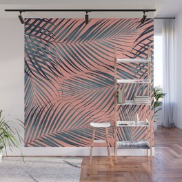 Blue Palm Leaves on Coral Pink #1 #tropical #decor #art #society6 Wall Mural