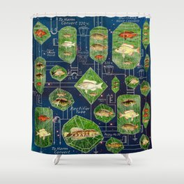 FISH IN GRASS CIRCUITRY IN A NEBULA Shower Curtain