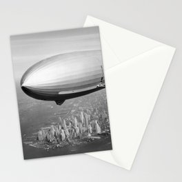Airship Flying Over New York City Stationery Cards