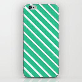 Turquoise Green Diagonal Stripes iPhone Skin