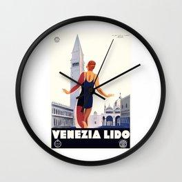 1930 Italy Venezia Lido ENIT Travel Poster Wall Clock