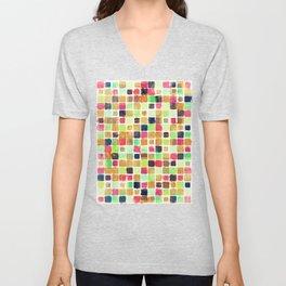 Colorful Textured Squares Unisex V-Neck