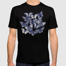 butterfly pale coral Black Mens Fitted Tee MEDIUM
