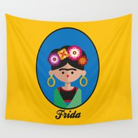 frida Wall Tapestries featuring Frida by Juliana Motzko