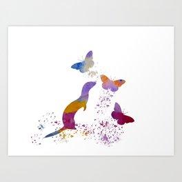 Ferret and butterflies Art Print