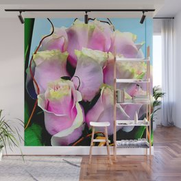 Soft Pastel Pink Gentle Rose Buds Floral Bouquet Wall Mural
