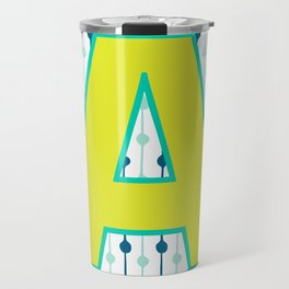 Letter A Monogram Blue, Green and Yellow with Pattern Travel Mug