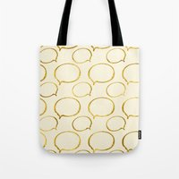gold foil Tote Bags featuring Cream Gold Foil 01 by Aloke Design