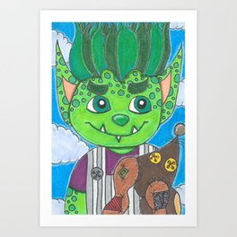 Young Goblin with stuffed dog Art Print