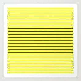 Black Lines On Yellow Art Print