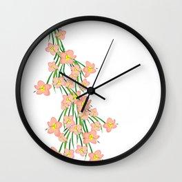 Peachy Pink Floral Wall Clock