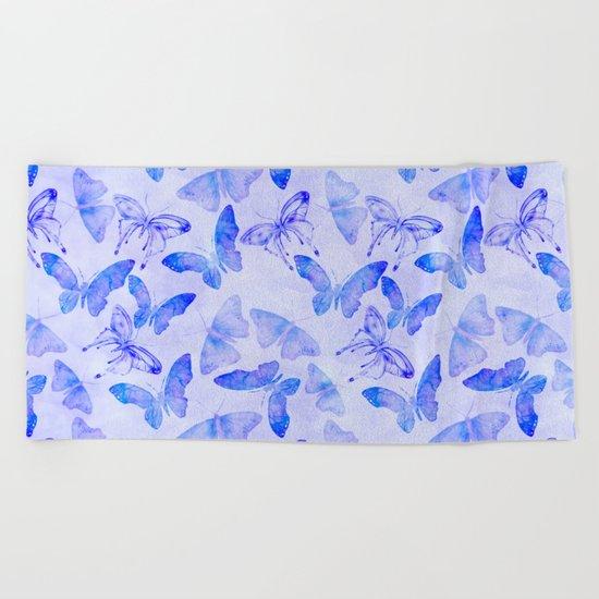 Purple Watercolor Butterfly Pattern Beach Towel