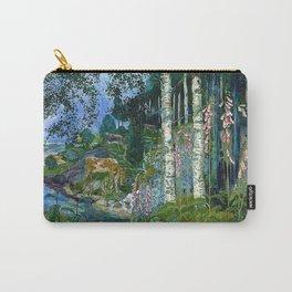 Wilderness Landscape, Wild Foxglove Flowers, White Birch, Stream & Cattle by Nikolai Astrup Carry-All Pouch
