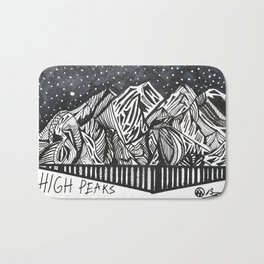 """High Peaks"" Hand-Drawn Adirondacks by Dark Mountain Arts Bath Mat"