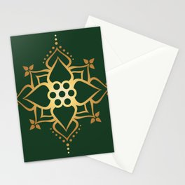 Indian Golden Lotus Harmony Mandala Pattern with Classy Green background color Stationery Cards
