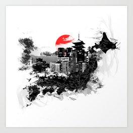 Abstract Tokyo-Shinjuku/Kyoto - Japan Art Print