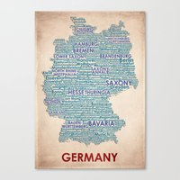 germany Canvas Prints featuring Germany by Wordmaps