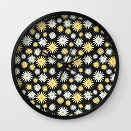 Watecolor Daisies Pattern | Black Wall Clock