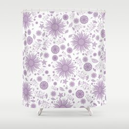 Beautiful Flowers in Faded Purple and White Vintage Floral Design Shower Curtain