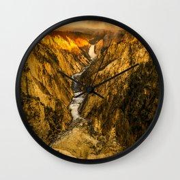 Yellowstone Canyon Falls Sunrise Print Wall Clock