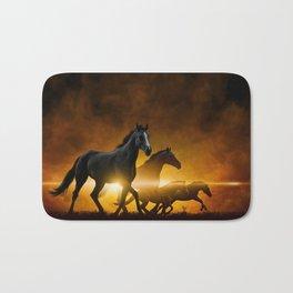 Wild Black Horses Bath Mat