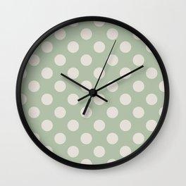 Large Polka Dots in Cream on Sage Green Wall Clock