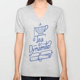 Tea or Dynamite? (blue) Unisex V-Neck