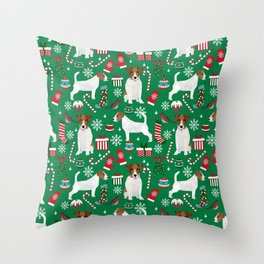 Jack Russell Terrier christmas festive holiday red and green dog lover gifts Throw Pillow